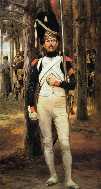 Painting of a Grenadier of the Old Napoleonic Guard by Édouard Detaille. In the background, the Emperor can be seen wearing his trademark grey field overcoat.