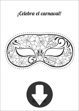 Máscara de Carnaval Masquerade para imprimir y colorear
