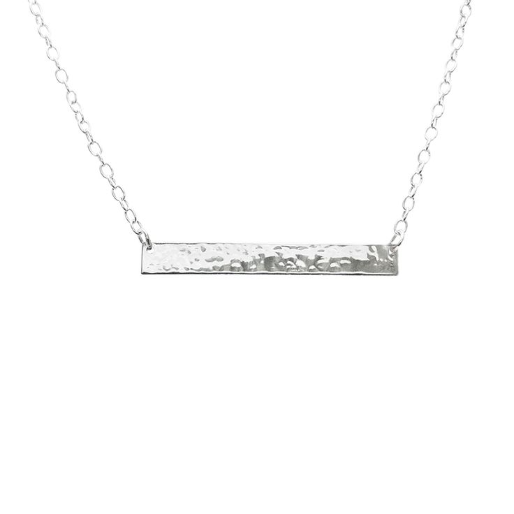 Plain Bar necklace in Sterling Silver with hammered finished. Available online at www.murkani.com.au