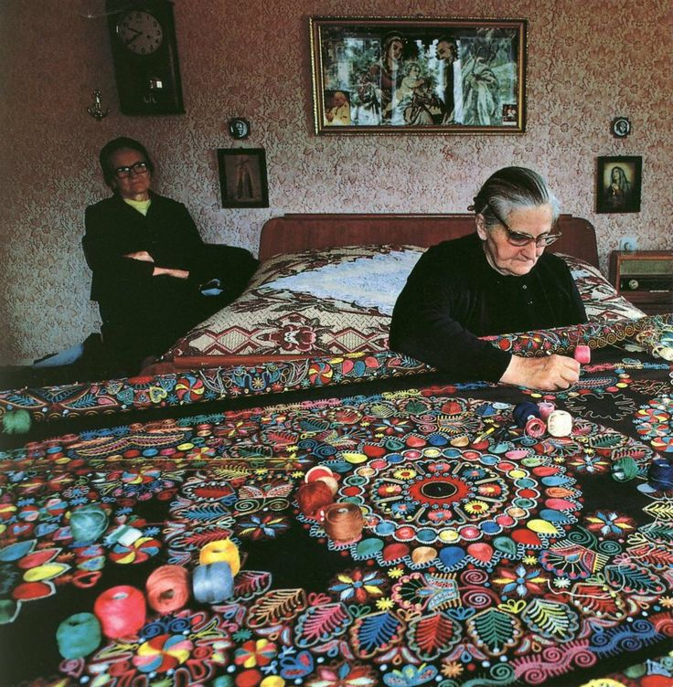 Not sure where this was taken, but look at the beautiful patterns of embroidery / quilting by these wonderful ladies!