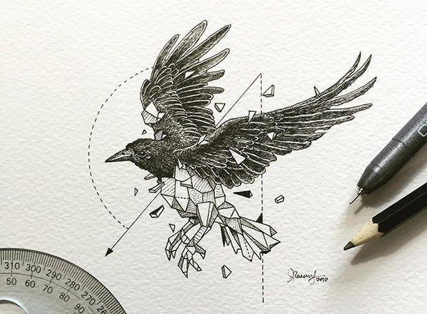 Artist Pairs Wildlife With Geometry to Create Stunning, Lively Drawings | Mental Floss