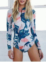 Foliage Print High Neck Long Sleeve Swimsuit
