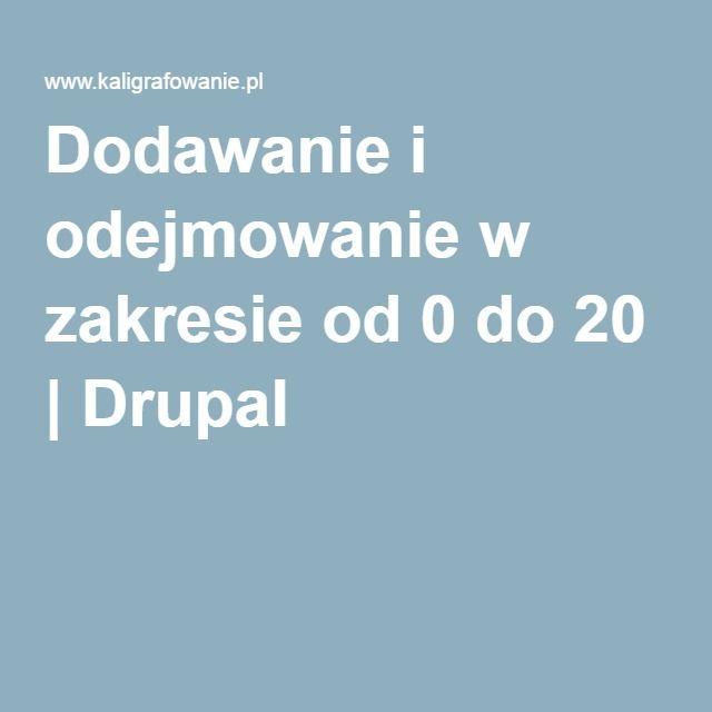Dodawanie i odejmowanie w zakresie od 0 do 20   Drupal