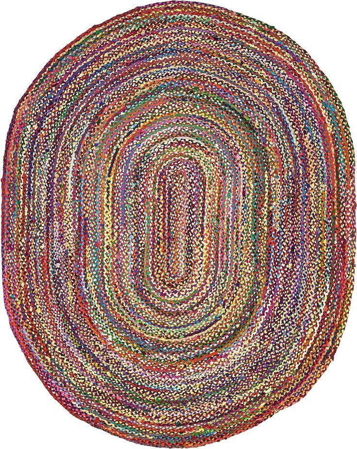 Multi 8' x 10' Braided Chindi Oval Rug | Area Rugs | eSaleRugs