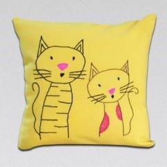 İki Kedi Sarı Yastık - #tasarim #tarz #sarı #rengi #moda #hediye #ozel #nishmoda #yellow #colored #design #designer #fashion #trend #gift