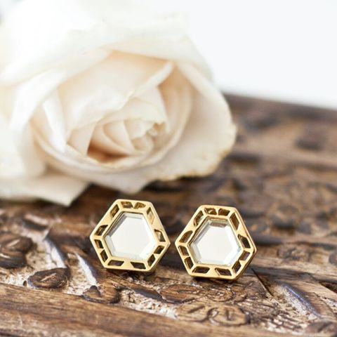 Isharya Deco Mirror Stud 18k Gold - These timeless yet modern earrings are beautifully detailed. Isharya makes quality pieces that will be treasured in your jewellery box for years to come. Buy online now at ALI LA FEY - Free shipping Australia wide. http://ow.ly/V2Ssg