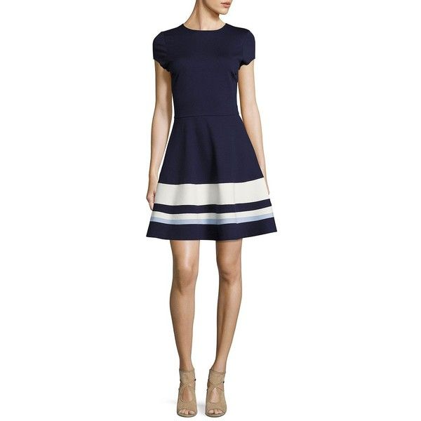 Design Lab Lord & Taylor Striped Fit-and-Flare Dress ($66) ❤ liked on Polyvore featuring dresses, navy, blue skater skirt, blue fit and flare dress, blue dress, flared skirts and stripe dresses