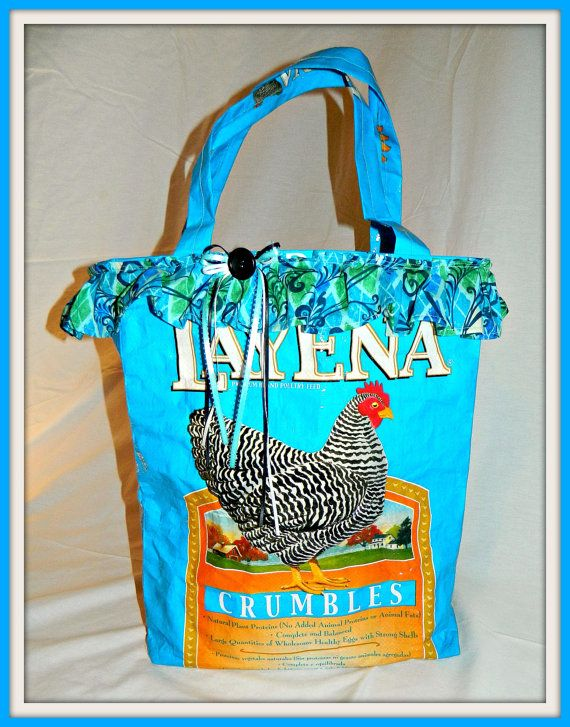 Large Tote   Recycled Chicken Feed Bag by ThatsSewClever on Etsy, $12.50