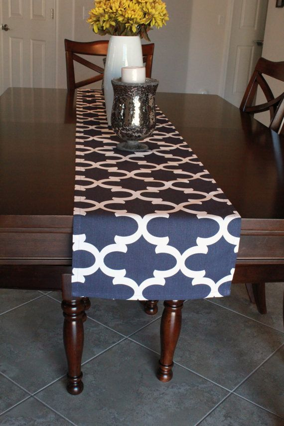 Navy Blue Table Runner  Table Runner  Kitchen by BlissfulSewing
