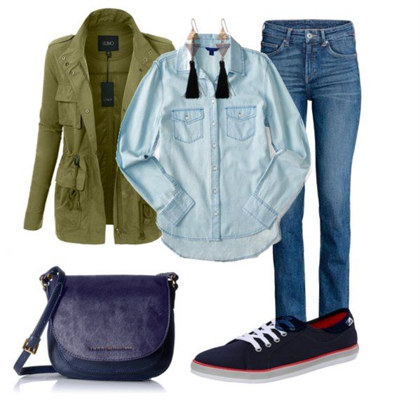 Fall Casual outfit with Navy bag Earrings Chambray shirt Navy sneakers Military Jacket Blue jeans