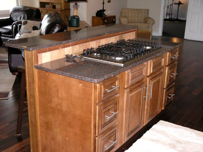 Cooktop bar island house ideas house dreams pinterest - Kitchen island with cooktop and seating ...