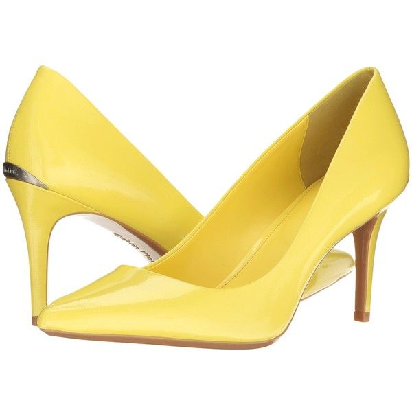 Calvin Klein Gayle (Laser Lemon Saffiano Patent) High Heels ($109) ❤ liked on Polyvore featuring shoes, pumps, patent pointed toe pumps, calvin klein pumps, stretch shoes, calvin klein shoes and high heel pumps