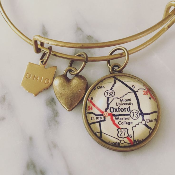 Miami University Map Charm Bangle Bracelet - Personalized Map Jewelry - Bangle - Oxford - Ohio - Midwest - Graduation - Alumni - Student by DaisyMaeDesignsShop on Etsy https://www.etsy.com/listing/292875751/miami-university-map-charm-bangle