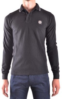Stone Island Men's Black Cotton Polo Shirt.