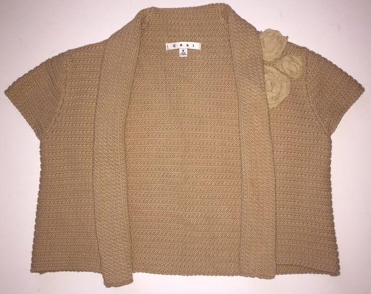 CAbi Raw Sugar 294 Boxy Shrug Flower Bolero Sweater Topper ($98 Retail) Small S  | eBay