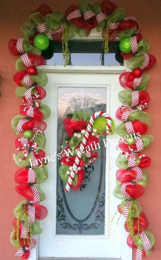Christmas garland and door swag with candy cane wreaths for Christmas swags and garlands to make