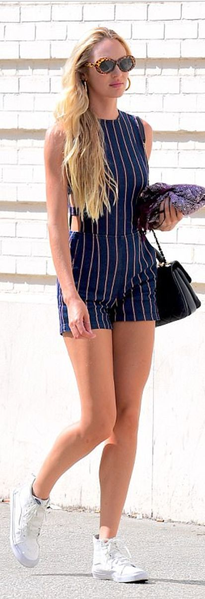 Who made Candice Swanepoel's blue stripe romper and white
