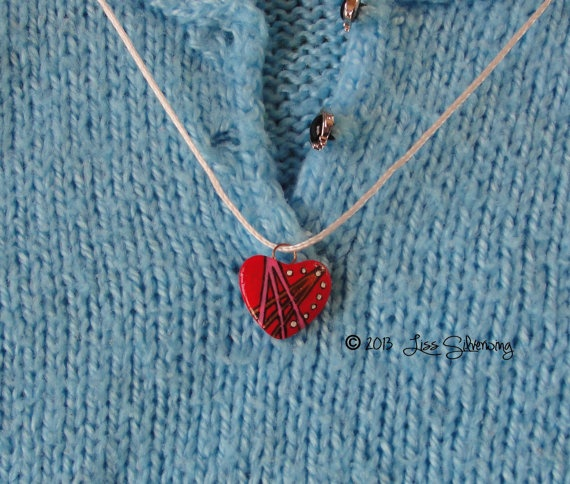 original painted  red art pendant by LissSilverwing on Etsy, $15.95