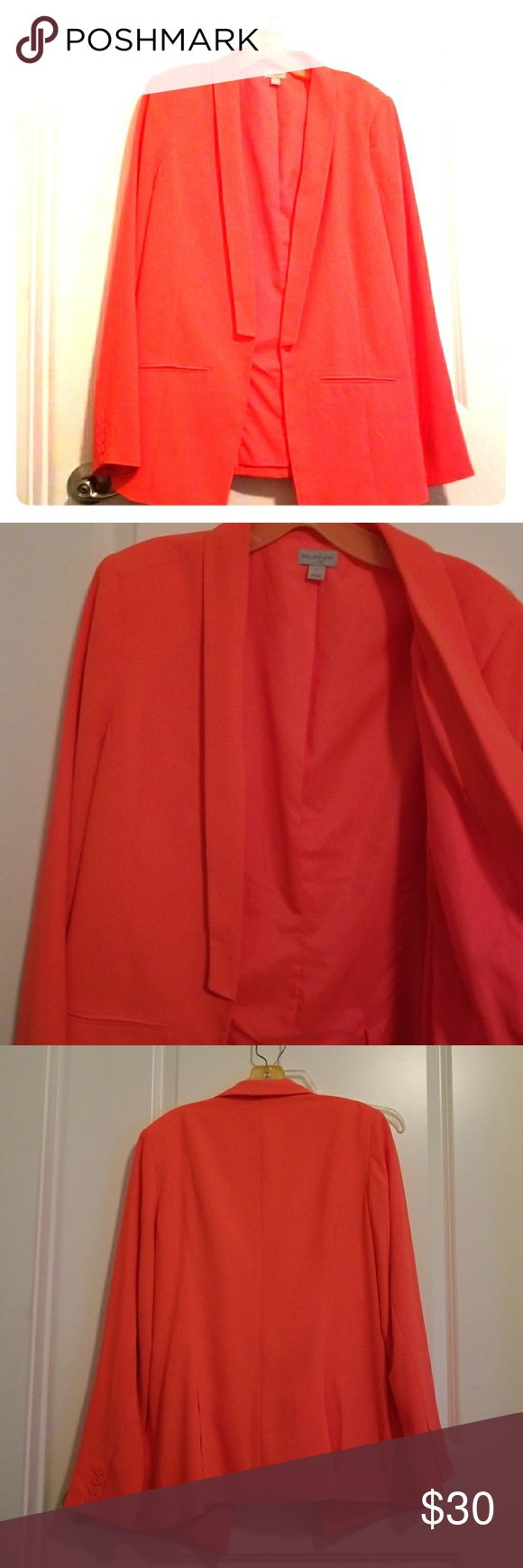jacket Bright fluorescent Jacket  Orange/pink  wear this with skinny jeans...or skirt ...This coat is a definite head turner...have had a lot of great compliments make an offer or bundle 😉😊 belle sky Jackets & Coats Blazers