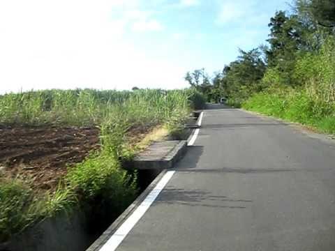 Cycling along the coast from Yomitan, Okinawa, Japan  Fahrt entlang des türkisblauen Meeres in Yomitan, Okinawa, Japan
