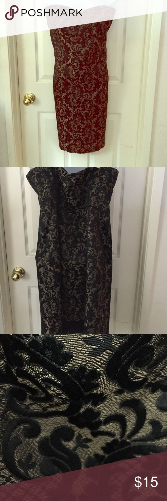 Anne Taylor Loft Strapless Jacquard Dress size 14 Great dress. Bought for the perfect occasion and never wore it. Now it's too big. Perfect semi formal dress. Ann Taylor Dresses Strapless
