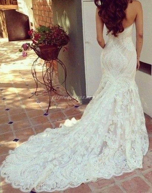 Dress: white lacey strapless wedding white ivory lace mermaid wedding