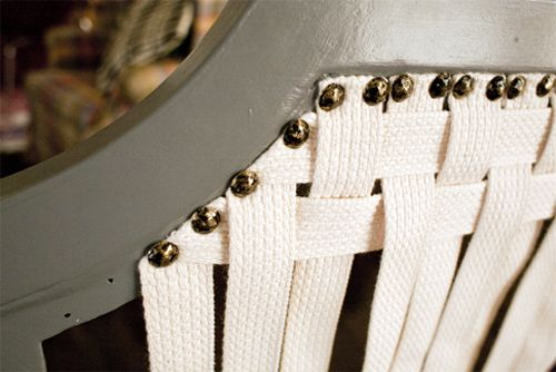 Instead of replacing the expensive cane on the back of a chair just weave in some webbing instead!