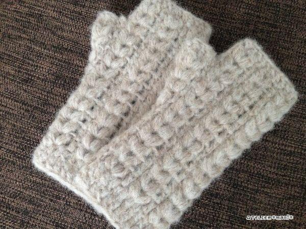 玉編みハンドウォーマーの編み図です^^親指は、編地に穴をあけておいて、後から編みだすタイプじゃなく、増し目しながら作るタイプにしてみました。左右まったく同じに編むので、そんなに難しくなく編めると思います^^この糸、zak