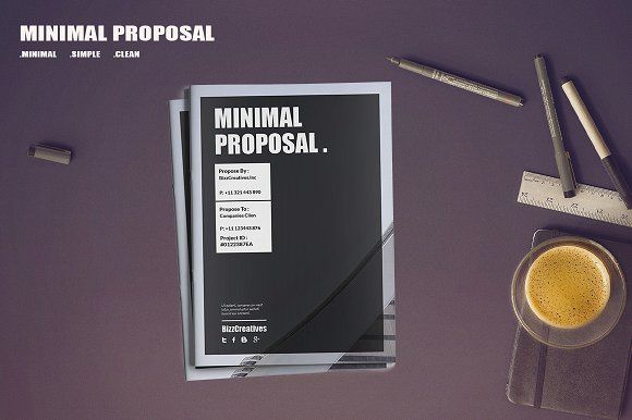 Minimal Proposal Template by BizzCreatives on @creativemarket
