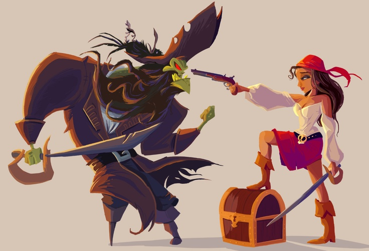 LeChuck and Elaine from Monkey Island. Art by Paco Vink.