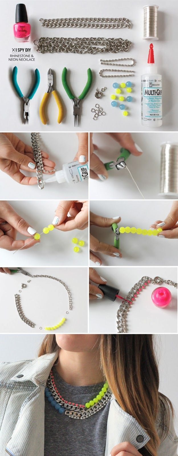 13 Wonderful DIY Jewelry Crafts / Rhinestone Neon Necklace