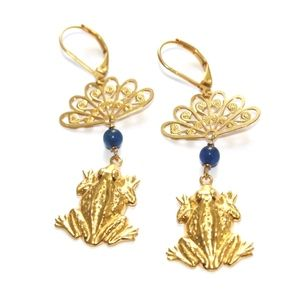 14k gold-plated frog earrings with blu quartz beads. Fun from Candy and Moi!