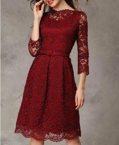 Vintage Seven Sleeves Lace Dress #women #fashion #vintage #dress #lace #style #lace