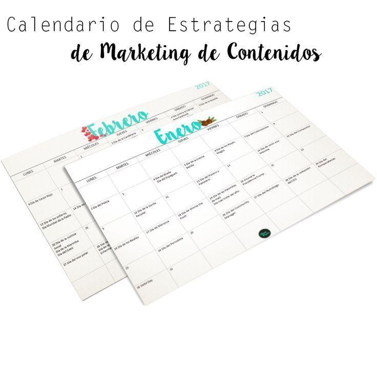 Calendario para crear Estrategias de Marketing   Un calendario Imprimible con las fechas más importantes a nivel Mundial, para que organices tus estrategias de contenidos del año