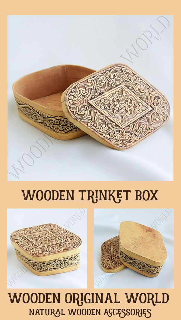 Carved wood eco friendly decorative jewelry rustic storage box #wooden  #ethnicraft  #veganlife