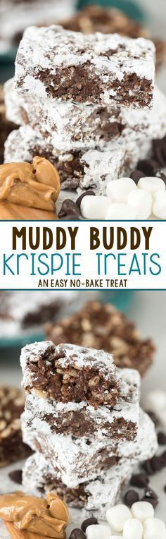 March 2017-Easy Muddy Buddy Krispie Treats - peanut butter chocolate cereal treats coated in powdered sugar!