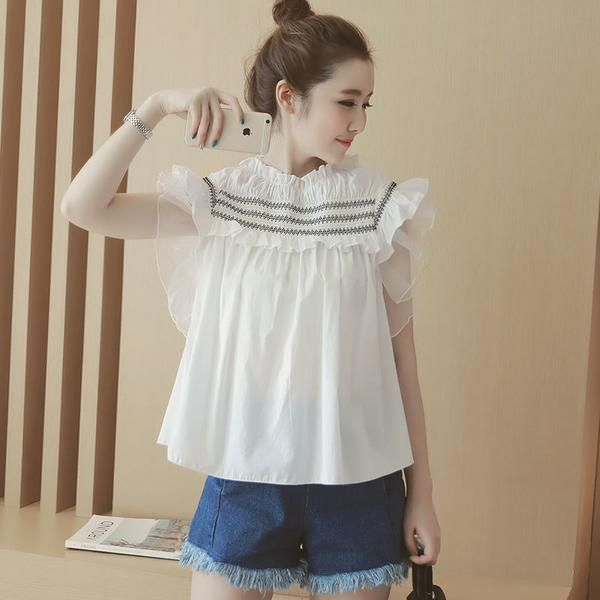 LadyIndia.com # Western Wear, New Fashion Trend 2016 Girls Tops Round Collar Short Sleeve Doll Shirt Tops Exclusive Designer Imported Top, Tops, T-shirts, Women Tops, Party Wear, Western Wear, Imported Tops, https://ladyindia.com/collections/western-wear/products/new-fashion-trend-2016-girls-tops-round-collar-short-sleeve-doll-shirt-tops-exclusive-designer-imported-top