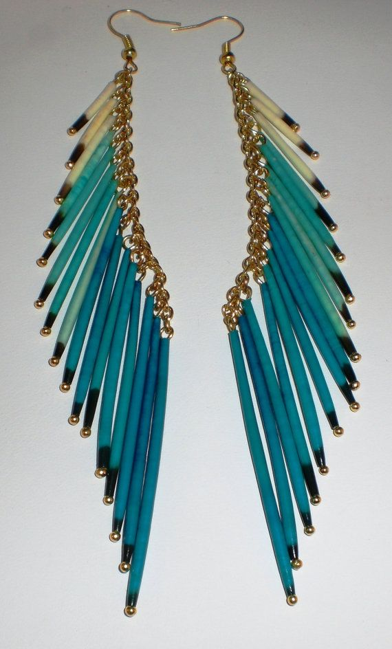 Tide Pool -- Native American Porcupine Quill Earrings, Porcupine Quill Tassel Earrings, Porcupine  Earrings,Tassel Earrings, Dangle Earrings