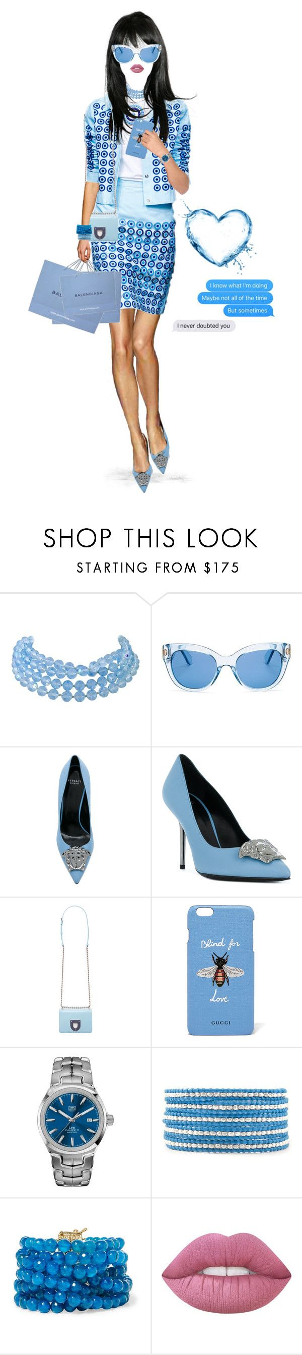 """""""Note to Self."""" by shellygregory ❤ liked on Polyvore featuring Holly Fulton, Kate Spade, Versace, Gucci, TAG Heuer, Rosantica, Bodhi, Blue, shopping and sunday"""