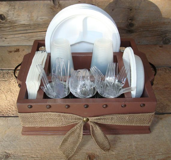 brown tableware utensil holder caddy organizer party decor for napkins paper plates utensils. Black Bedroom Furniture Sets. Home Design Ideas