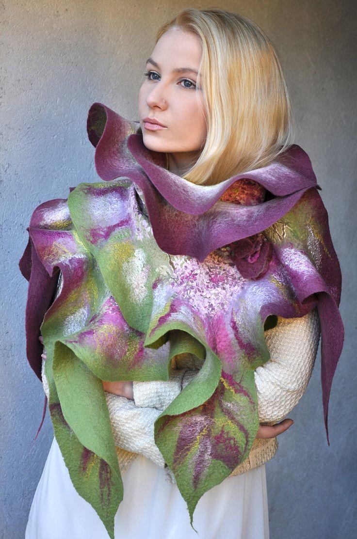 FREE SHIPPING -- Nunofelt Silk -- Wrap Wool Scarf Shawl with Brooch Flower -- OOAK --- Lilac Flowers -- ruffle scarf - purple green by ShellenD on Etsy
