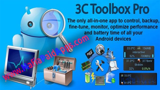 3C Toolbox Pro v1.9.7.9 [Patched] Apk for Android    3C Toolbox Pro Apk  3C Toolbox Prois aToolApplicationfor android  Download last version of3C Toolbox ProApk for android fromMafiaPaidAppswith direct link  3C Toolbox is the must-have app for every Android user and every root user  3C Toolbox combines many features from other great apps into one giant toolbox with a modern and easy-to-use interface. 3C Toolbox has every tool you need to monitor control and fine-tune all your Android…