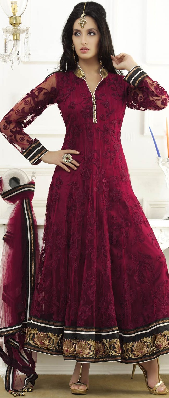 Maroon Net Abaya Style Churidar Kameez @ $243.65 | Shop @ http://www.utsavfashion.com/store/sarees-large.aspx?icode=kan50