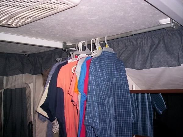 Hanging Clothes In Tent Trailer Camper Storage Ideas