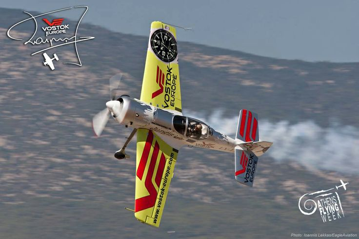 Lithuanian pilot Jurgis Kairys, Vostok-Europe ambassador and multiple Aerobatics World Champion flying in Athens for the Athens Flying Week #VostokEurope #watch #pilot #aviation #chronograph #automatic