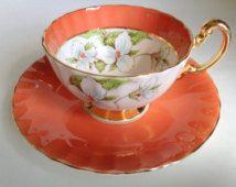 Trillium blanco Aynsley Taza de té y platillo, Flor de Ontario Canadá, la taza de té y platillo, juego de té, tazas de té, juegos de té, tazas de té y platillos