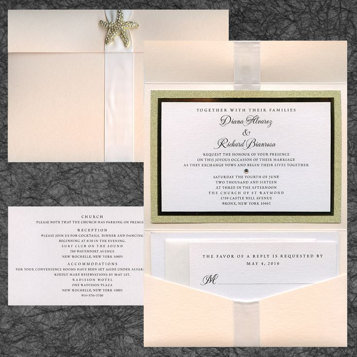 Three layer paper pocket wedding invitation with