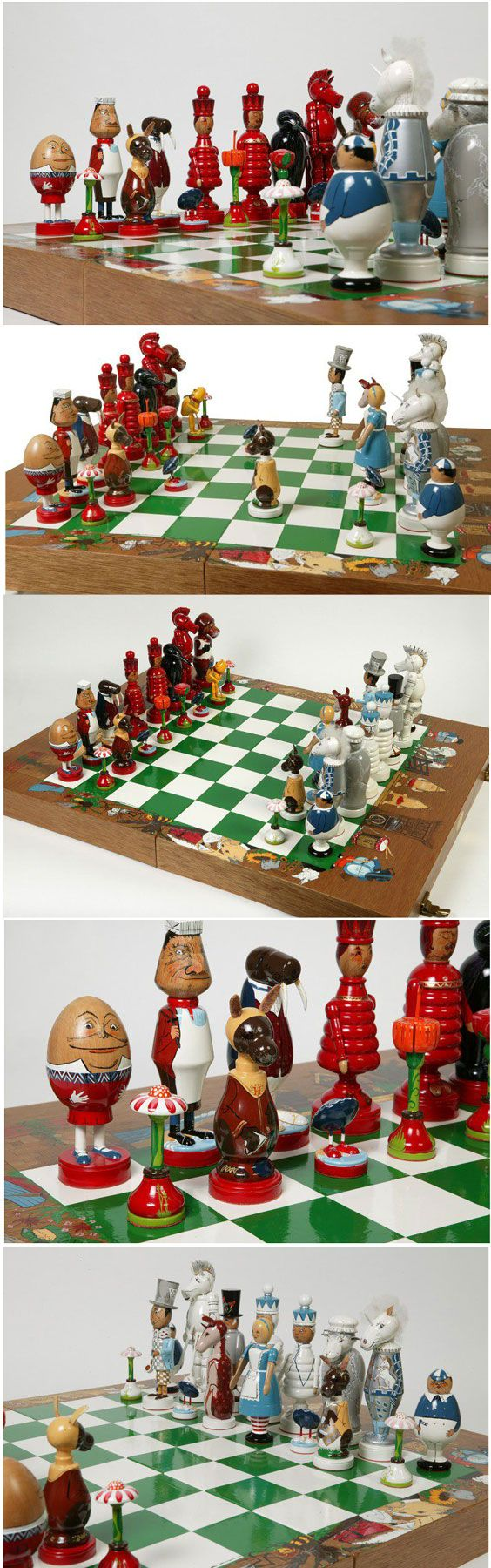 Alice Through the Looking Glass Chess Set. This is an unusual and finely made chess set with playing pieces based on the characters from the book Through the Looking Glass by Lewis Carroll. c.1983. Alice in Wonderland http://collections.vam.ac.uk/item/O26138/alice-through-the-looking-glass-board-game-dale-nell/