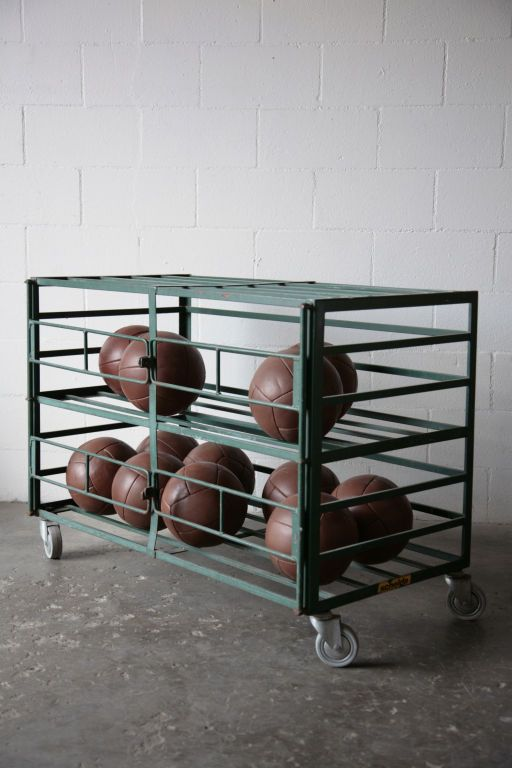 Vintage Industrial Rolling Gym Equipment Cage | From a unique collection of antique and modern sports at http://www.1stdibs.com/furniture/more-furniture-collectibles/sports/