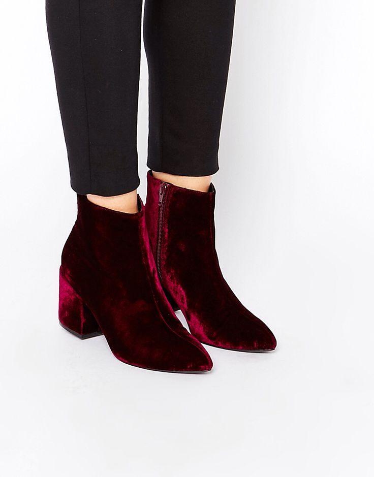 Red velvet pointy boots